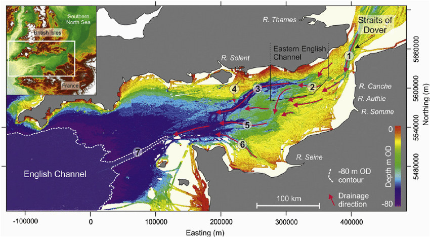 sea bed bathymetry of the english channel continental shelf inset