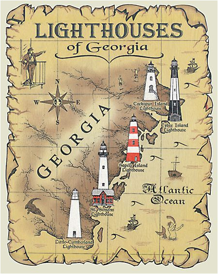 lighthouses of georgia map t shirt charleston savannah