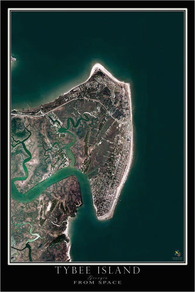tybee island georgia satellite poster map georgia on my mind