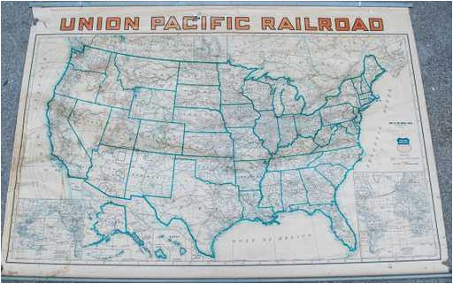 union pacific railroad routes usa wall map 1940