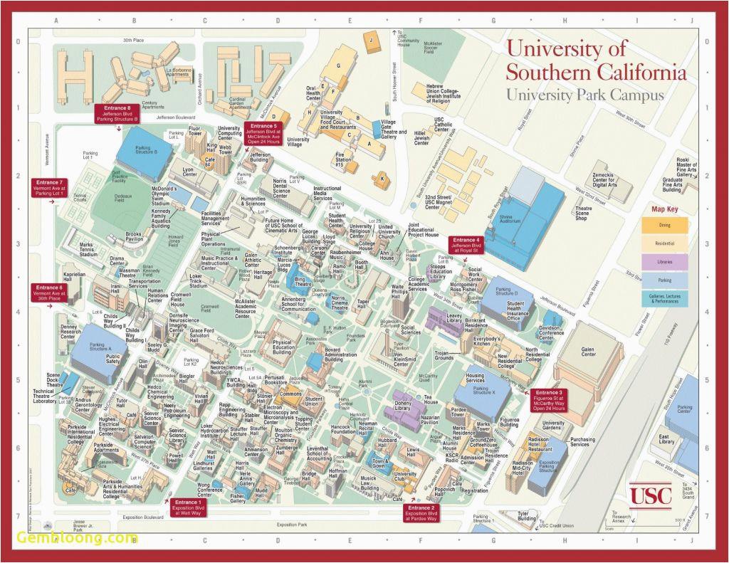 University Of southern California Campus Map   secretmuseum on