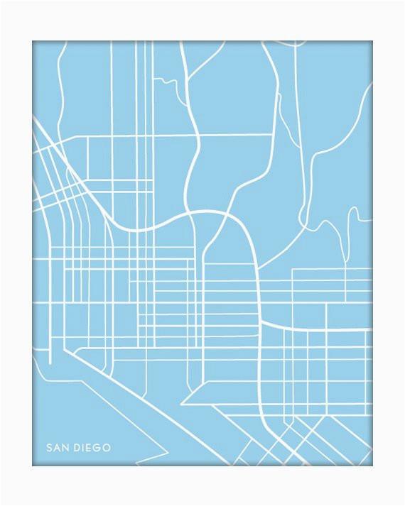 san diego custom map art print california city map wall poster