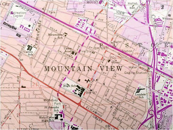 antique mountain view california 1961 us geological surve