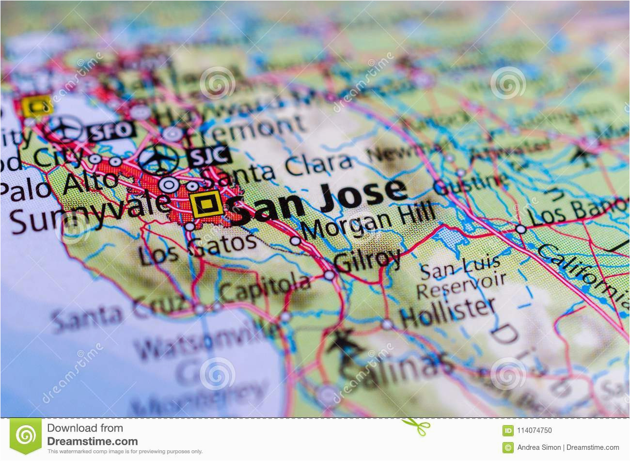 san jose california on map stock photo image of center airport