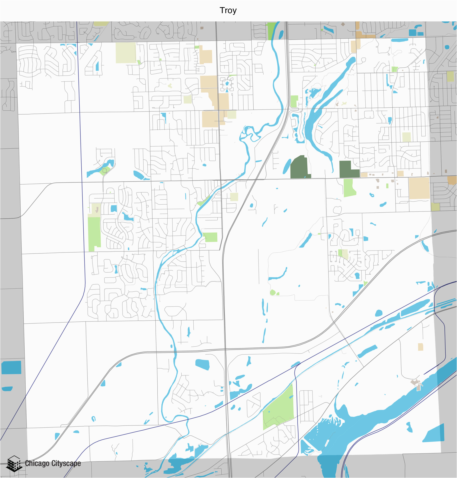 township map of building projects properties and businesses in