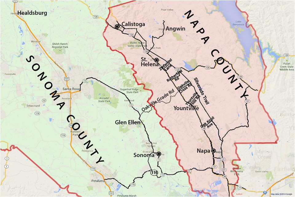 Wine Country In California Map Wine Country Map sonoma and Napa Valley