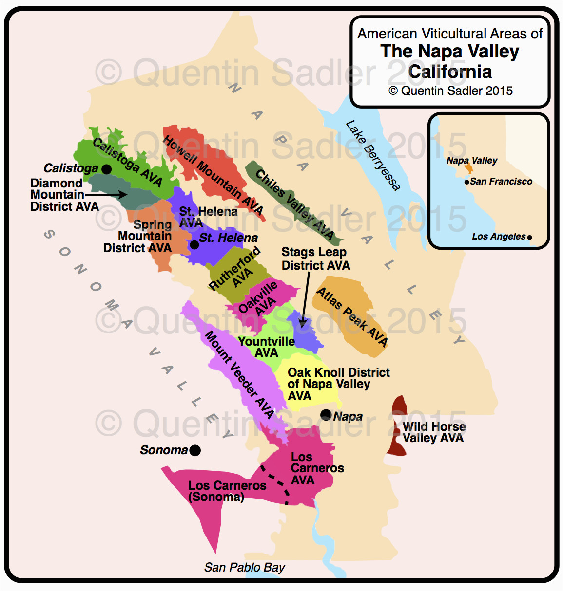 Wine Regions Of California Map Napa Valley Map Quentin Sadler S Wine Page