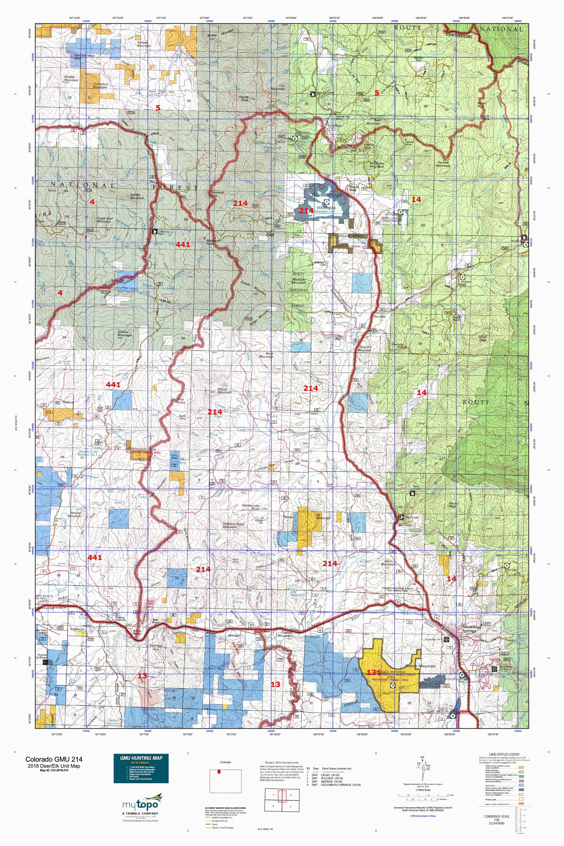 map of wyoming and colorado new colorado gmu 214 map maps directions