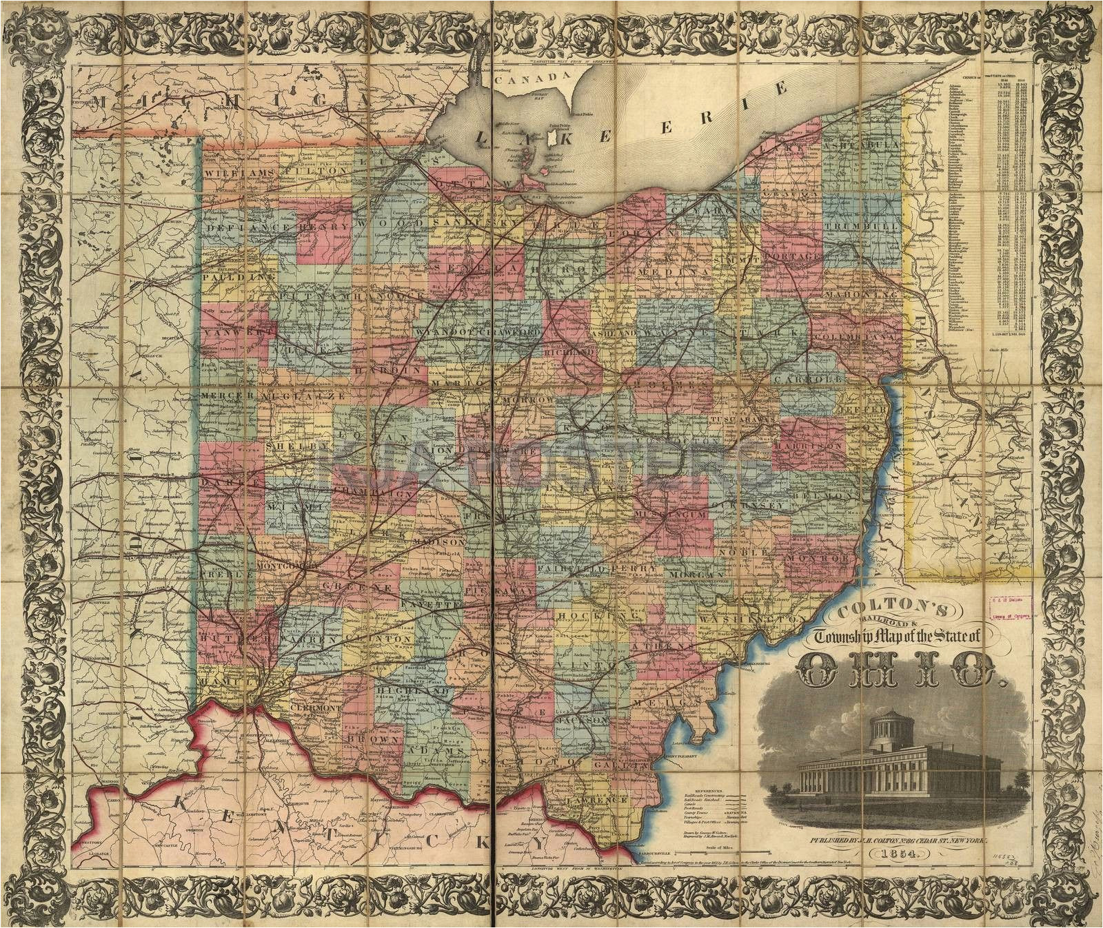 railroad rail train historic map ohio 1854 products pinterest