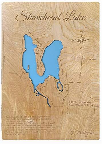 amazon com shavehead lake michigan standout wood map wall hanging