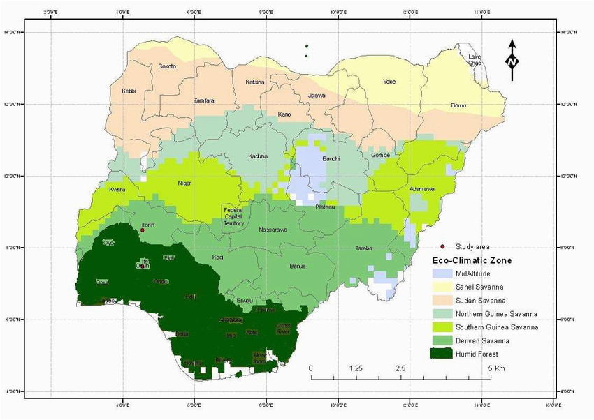 map of nigeria showing eco climatic zones of nigeria and study areas