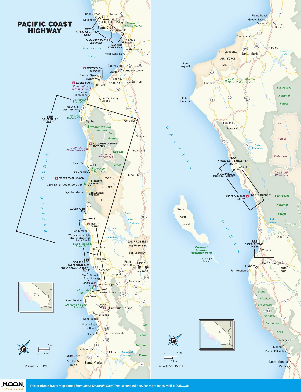 California Coastal Highway Map Us East Coast Road Trip Map ...