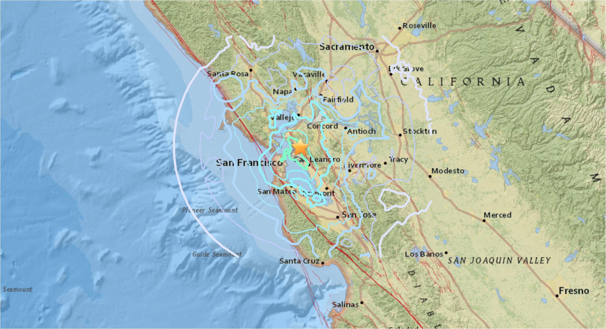 live earthquake map california best of san francisco earthquake map