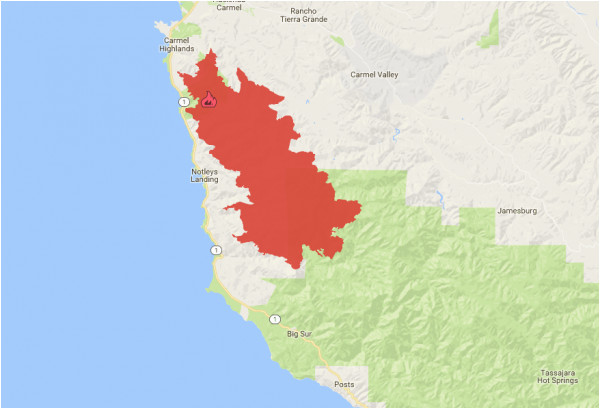 soberanes fire 2016 zoom in to cover the immediate surroundings of