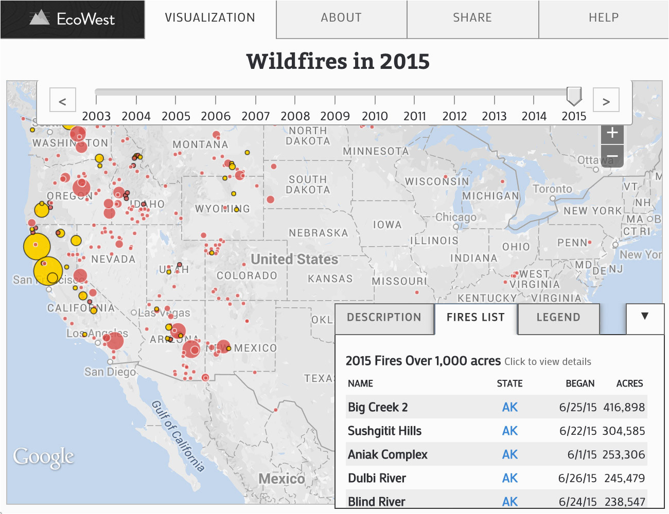 wildfires in the united states data visualization by ecowest org