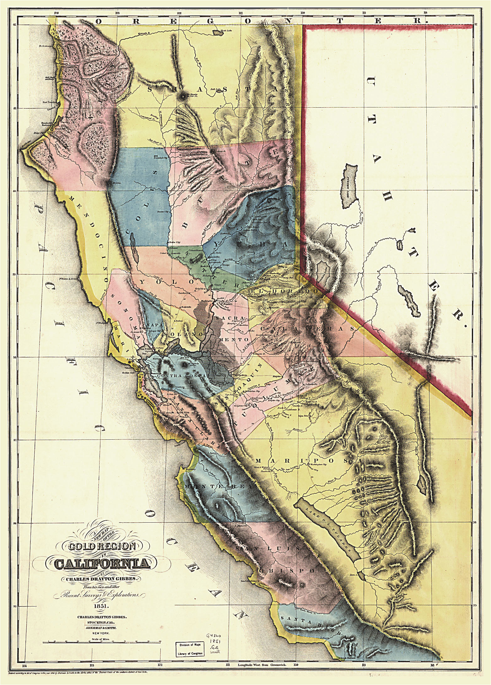 Map Of California Gold Country.California Gold Country Map 1850 Mariposa County California Census