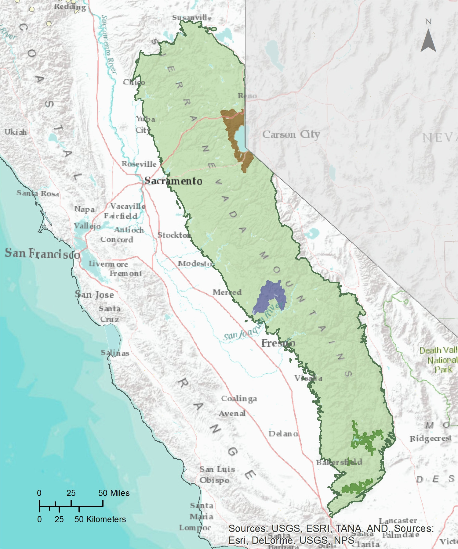 California Mountain Region Map California Mountain Range Map ...