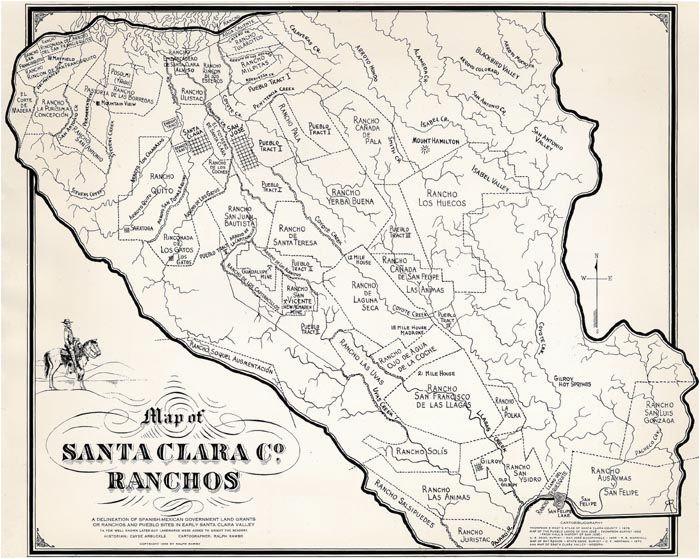 California Ranchos Map Ralph Rambo S Hand Drawn Map Of Santa Clara Valley Ranchos During