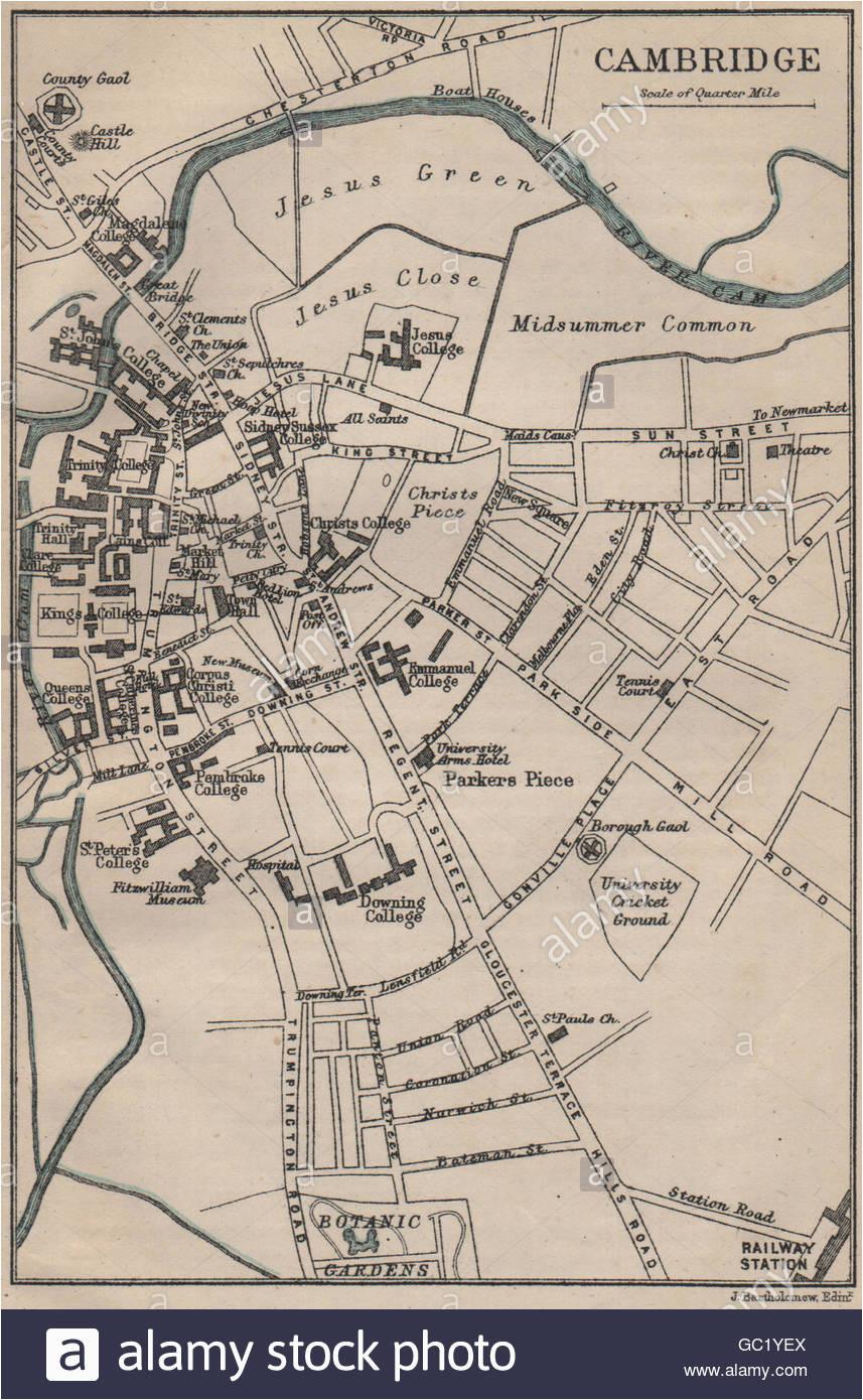 antique map of cambridge stock photos antique map of cambridge