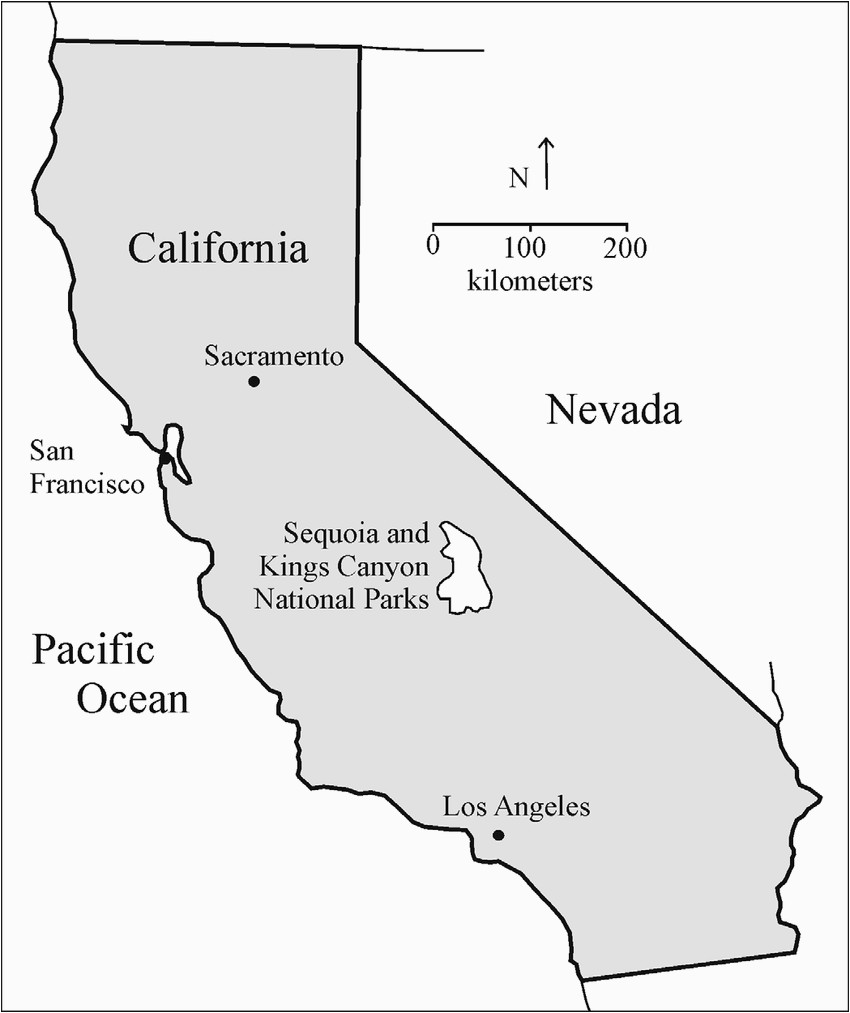 location map of sequoia and kings canyon national parks california