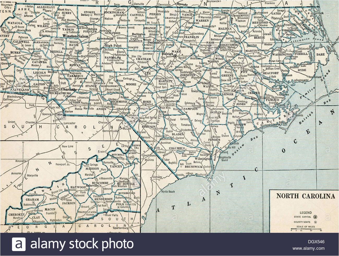 north carolina state map stockfotos north carolina state map