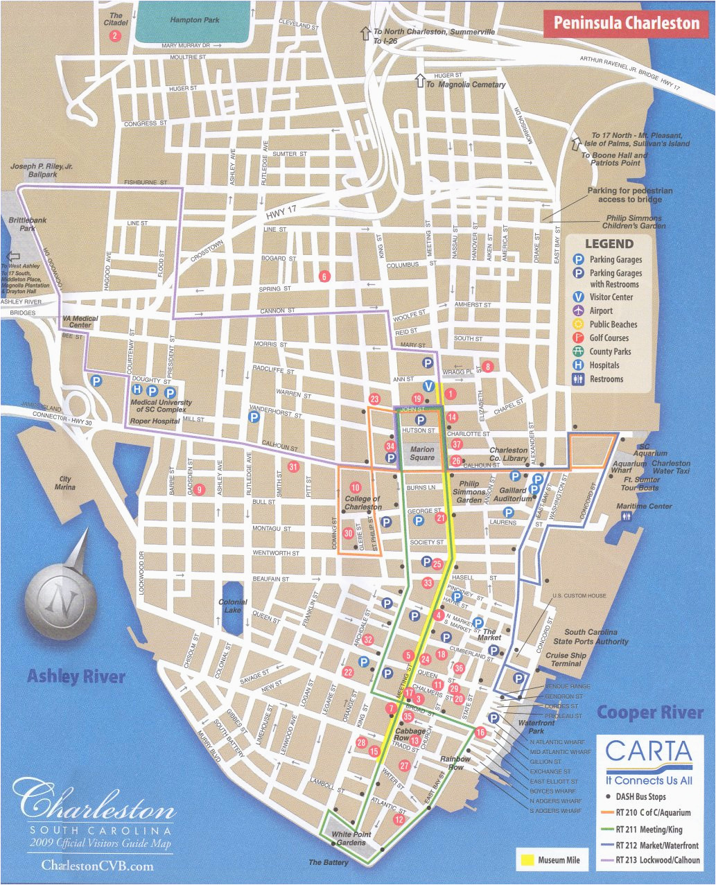 Charleston north Carolina Map Map Of Downtown Charleston