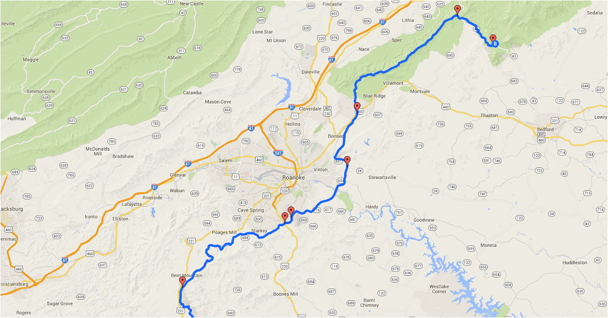 Charming California Google Maps Blue Ridge Parkway Map Entry Points on