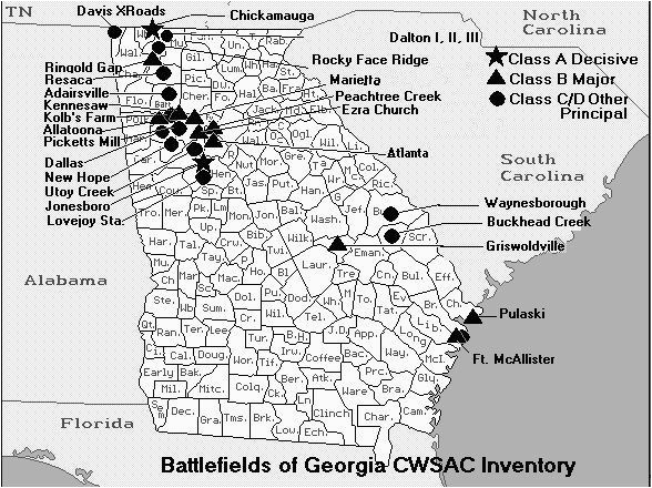 Civil War Sites In Georgia Map Related Image Maps Pinterest
