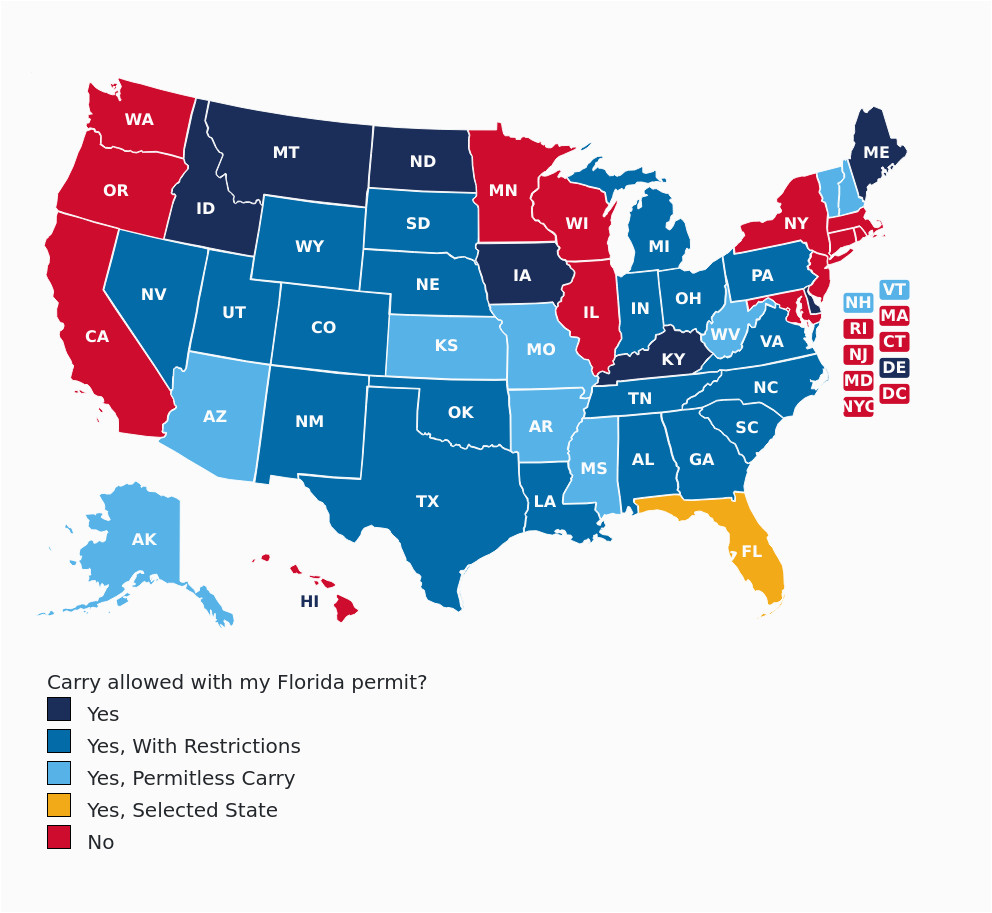 Colorado Concealed Carry Reciprocity Map Florida Concealed Carry Gun on