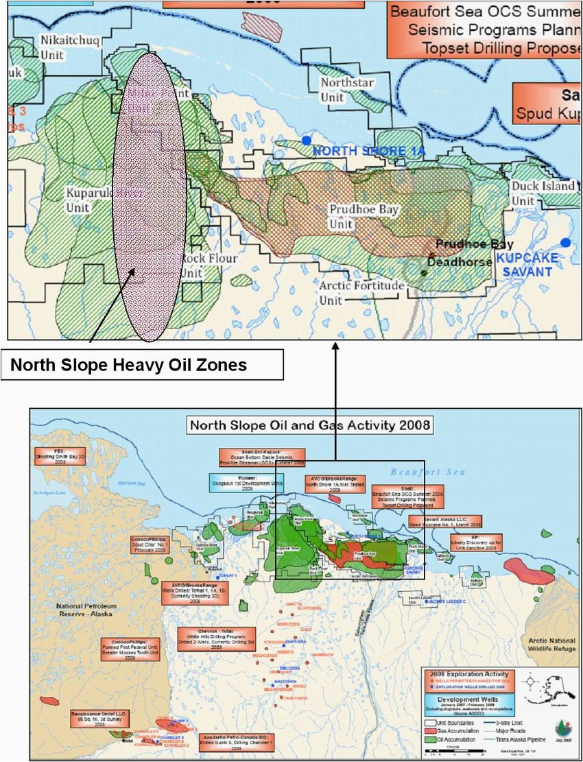map of north slope oil and gas fields showing location of heavy oil