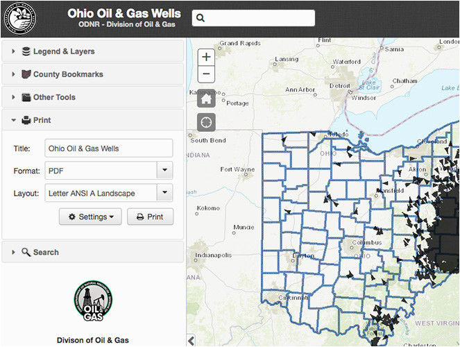 Columbia Station Ohio Map Oil Gas Well Locator