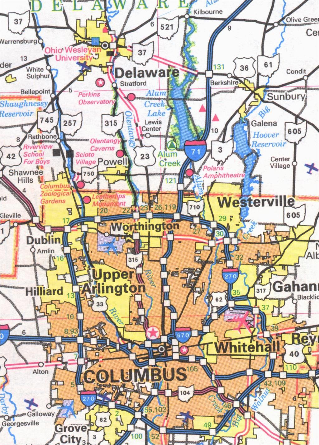 columbus ohio city map www tollebild com