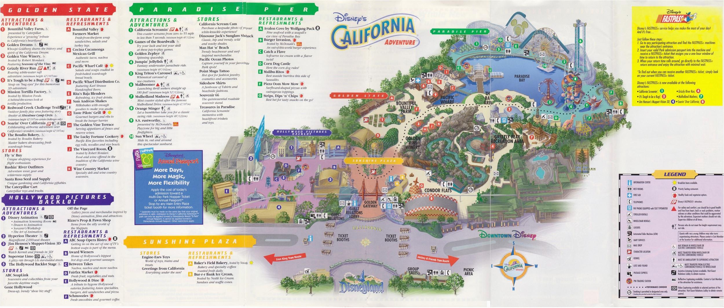 map of disney california adventure california adventure land map