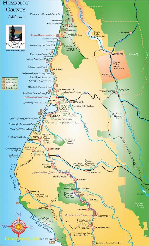 map california northern coast free printable humboldt county fresh