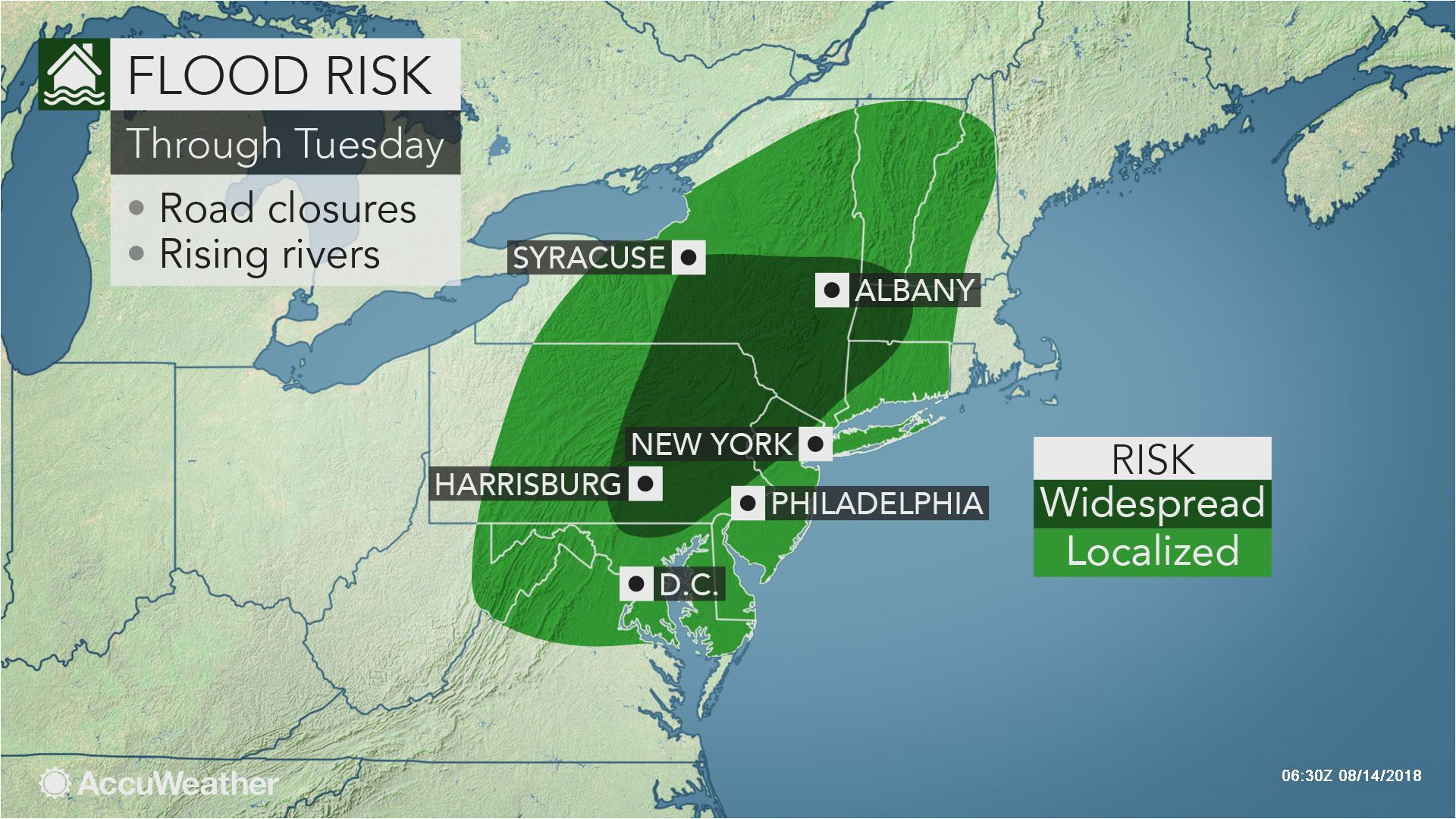 wet weather to perpetuate flood threat in the northeast early this week