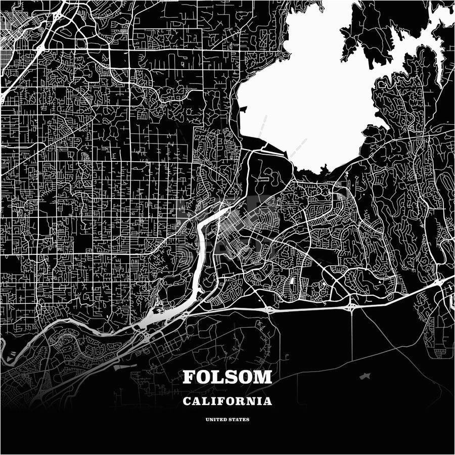 black map poster template of folsom california usa maps vector