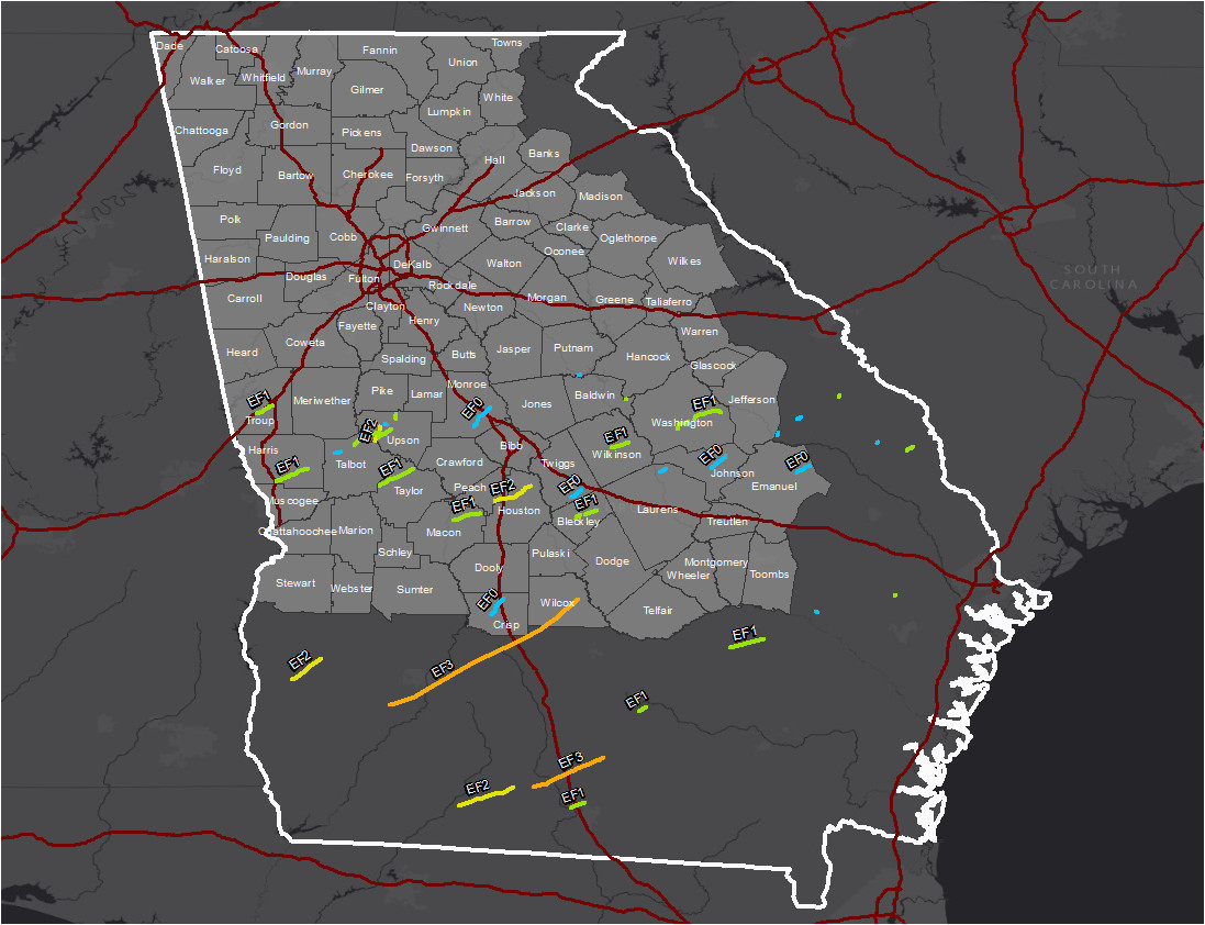 map of forsyth county ga awesome january 21 22 2017 tornado outbreak