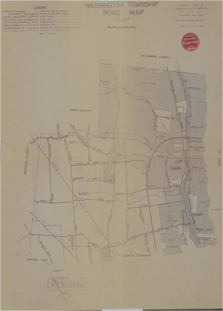 1981 map of washington township franklin county ohio columbus