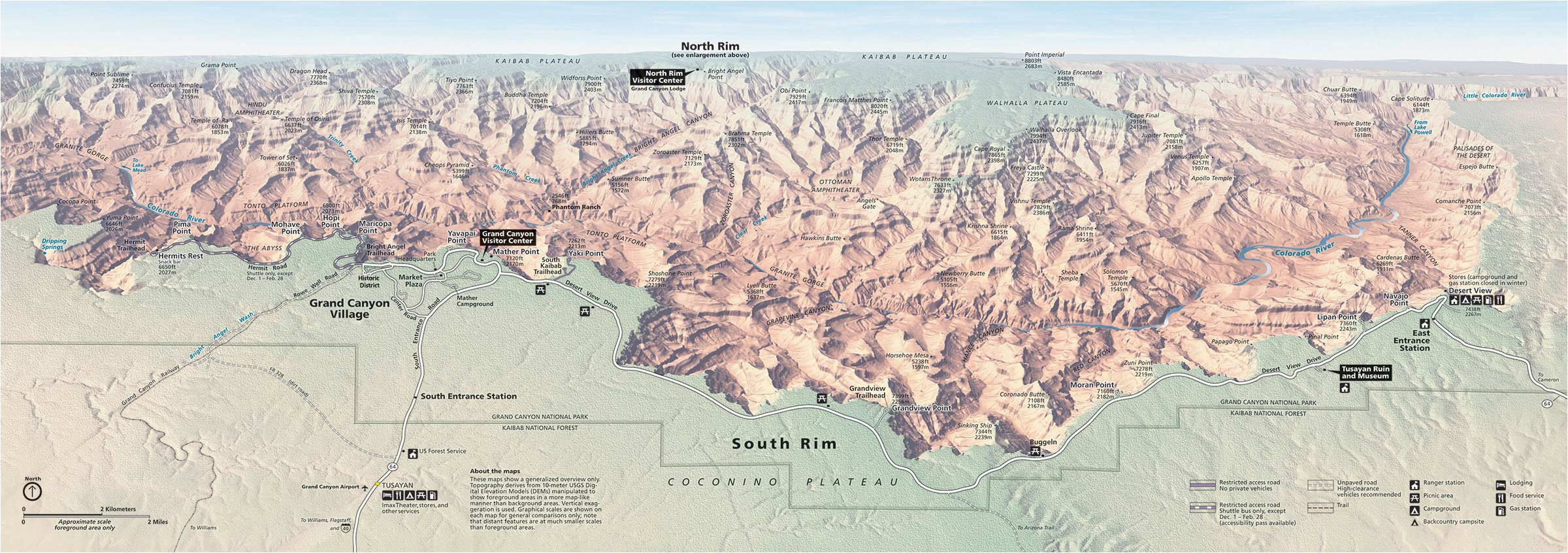 north rim grand canyon map awesome map las vegas and grand canyon