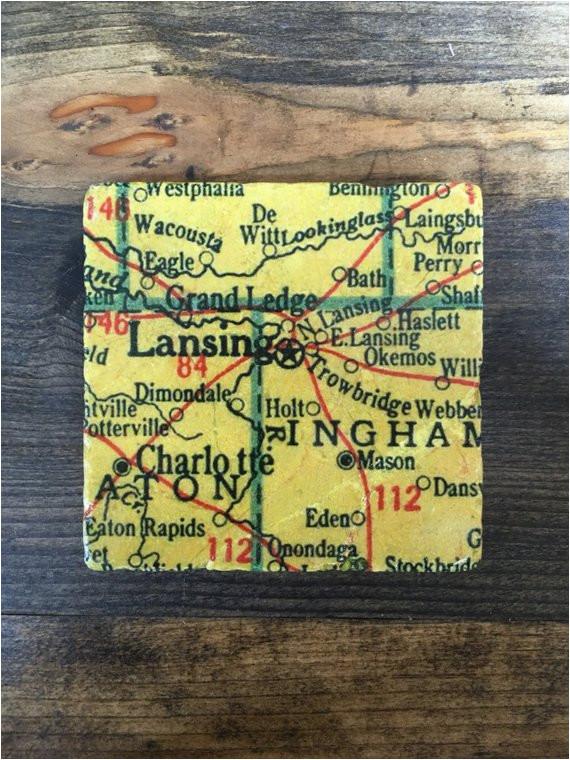 lansing michigan map coaster with cork backing charlotte grand etsy