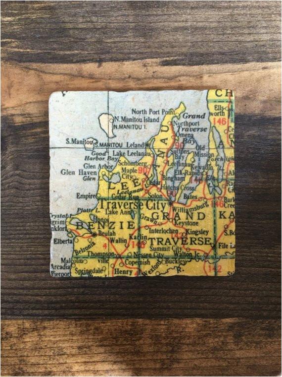 traverse city michigan map coaster with cork backing leelanau etsy