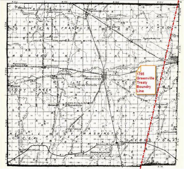 Greenville Ohio Map 1795 Greenville Treaty Line Map Randolph County Historical society