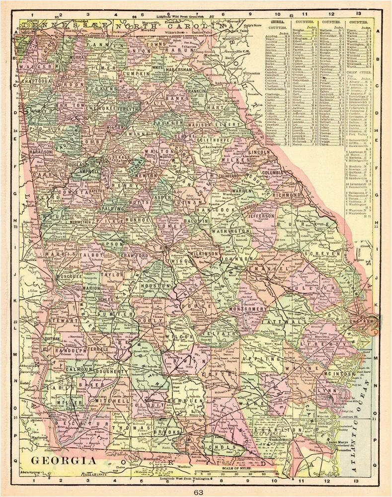 1901 antique georgia state map vintage map of georgia gallery wall