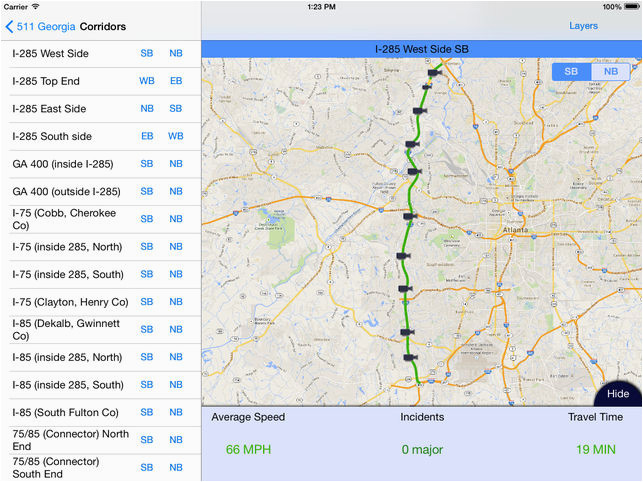 Map Of Georgia 75.I 75 Georgia Map 511 Georgia Atlanta Traffic On The App Store
