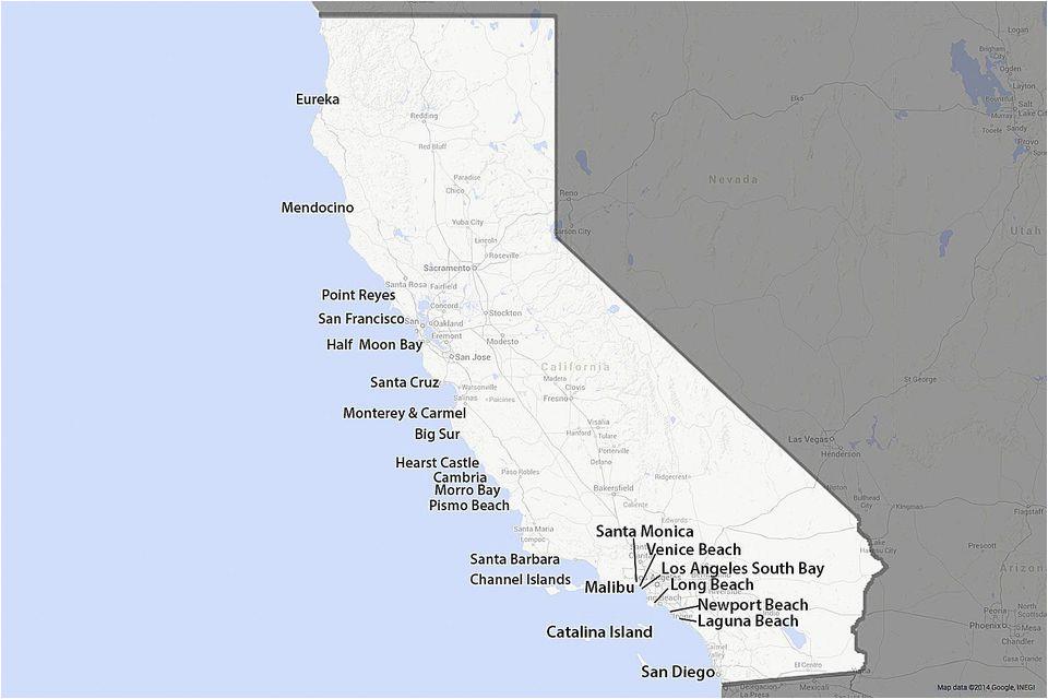map of the california coast 1 100 glorious miles