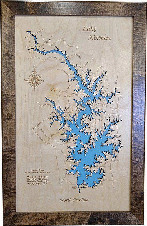 lake norman north carolina wood laser cut map lake norman nc