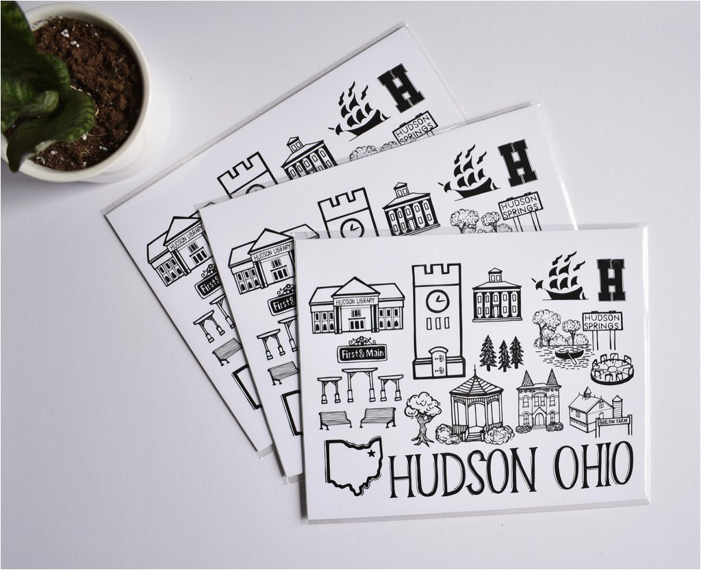 Map Hudson Ohio Hudson Ohio Map Print Fiber and Gloss