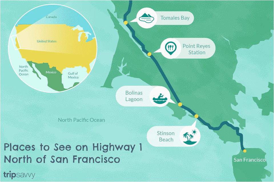 California Map Coastal Drive.Map Of California Coast Hwy 1 Highway 1 In Northern California A