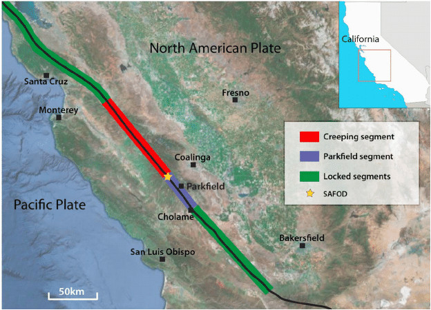 location map of the san andreas fault saf and safod borehole in