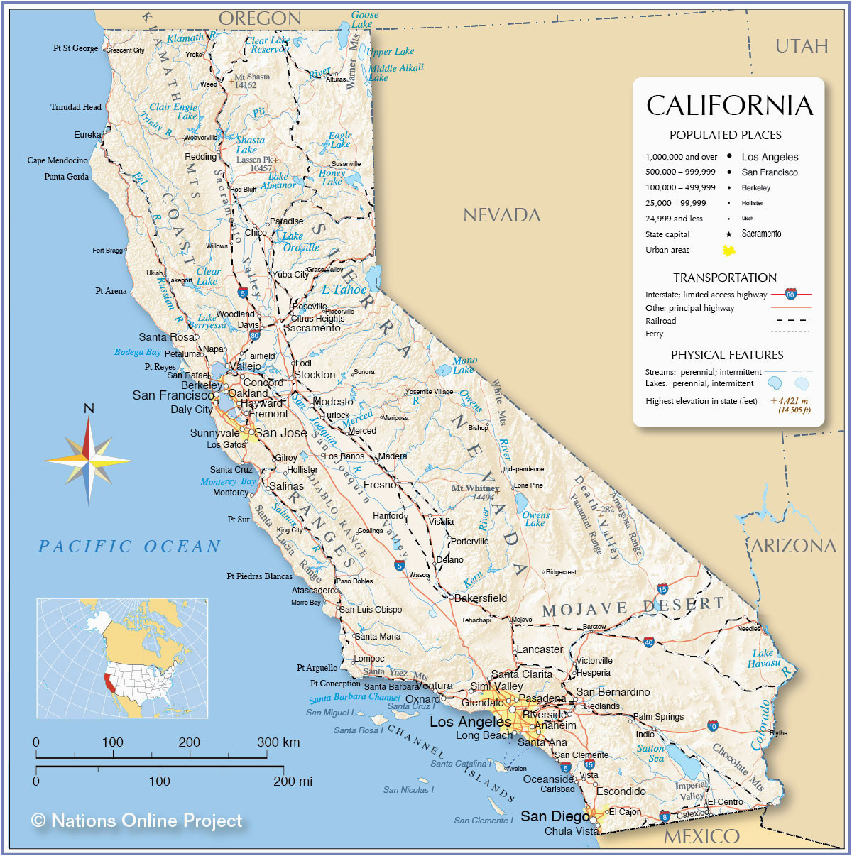 10 unique printable map of california with major cities printable map